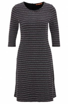 A-line dress in bouclé jersey, Dark Blue