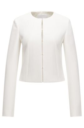 Tailored jacket in a yarn-dyed stretch fabric blend, Natural