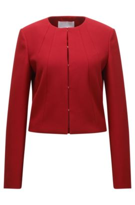 Tailored jacket in a yarn-dyed stretch fabric blend, Red