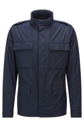 Regular-fit field jacket in a technical fabric, Dark Blue