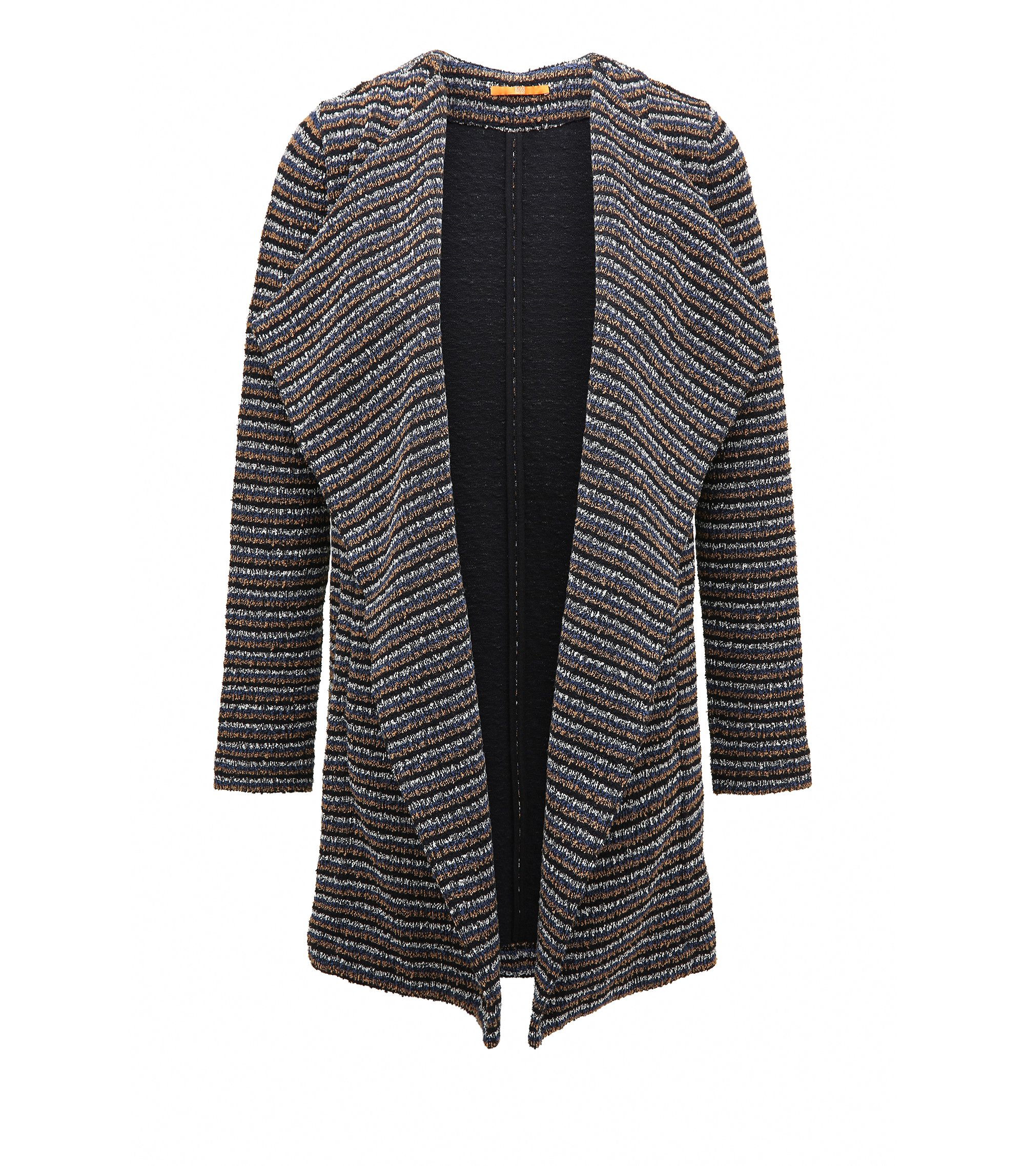 Relaxed-Fit Jersey-Mantel aus strukturiertem Bouclé, Dunkelblau