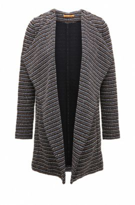 Relaxed-fit jersey coat in structured bouclé, Dark Blue