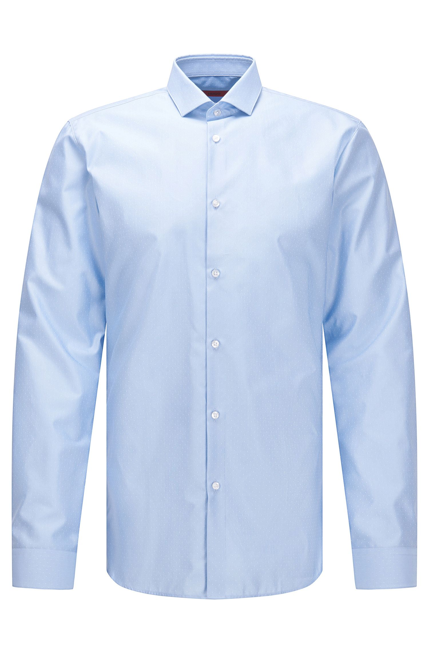 Slim-fit cotton twill shirt with micro-dot pattern
