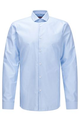 Slim-fit cotton twill shirt with micro-dot pattern, Light Blue
