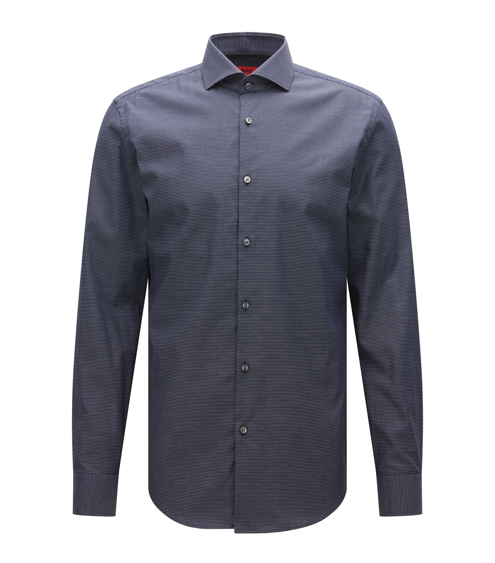 Micro-pattern slim-fit shirt in stretch cotton, Dark Blue