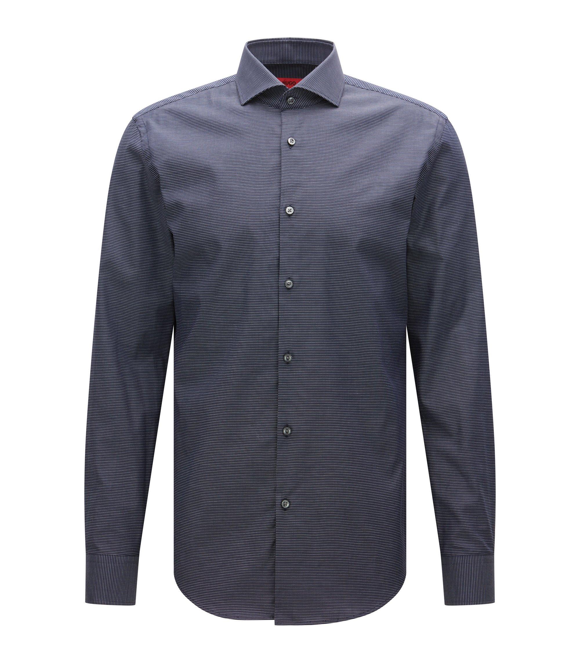 Slim-fit overhemd van stretchkatoen met microdessin, Donkerblauw