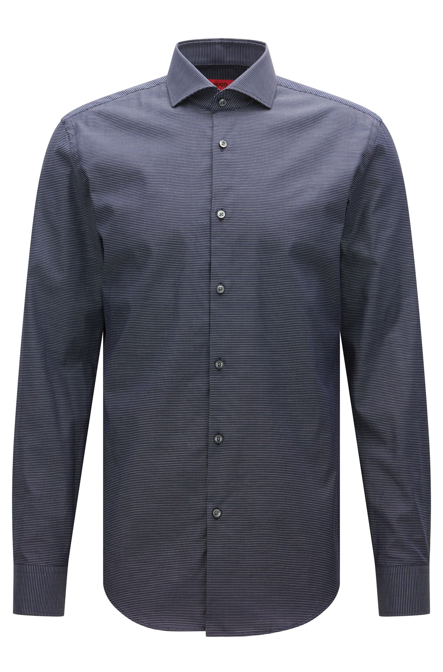 Micro-pattern slim-fit shirt in stretch cotton