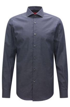 Chemise Slim Fit en coton stretch à micromotif, Bleu foncé