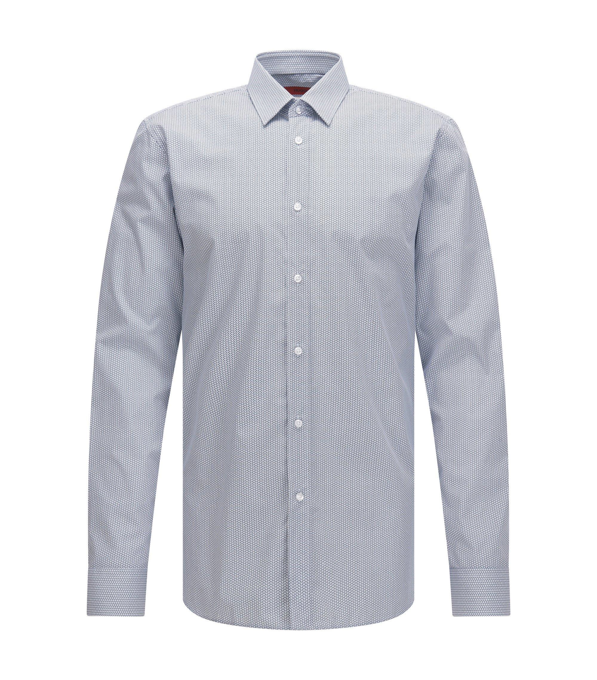 Slim-fit overhemd van katoen met microdessin, Lichtblauw