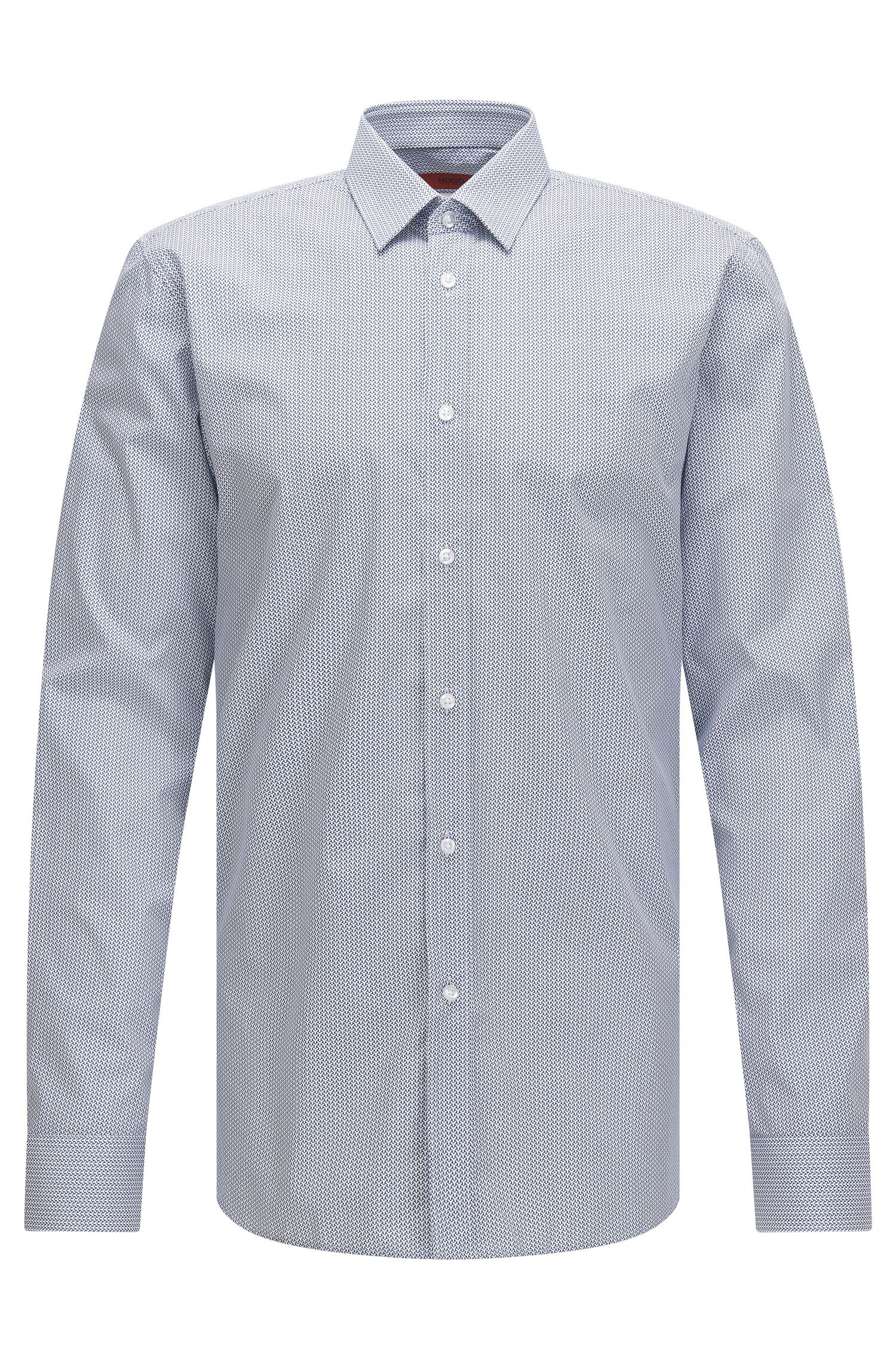 Slim-fit cotton shirt in micro pattern