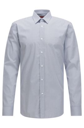 Slim-fit cotton shirt in micro pattern, Open Blue