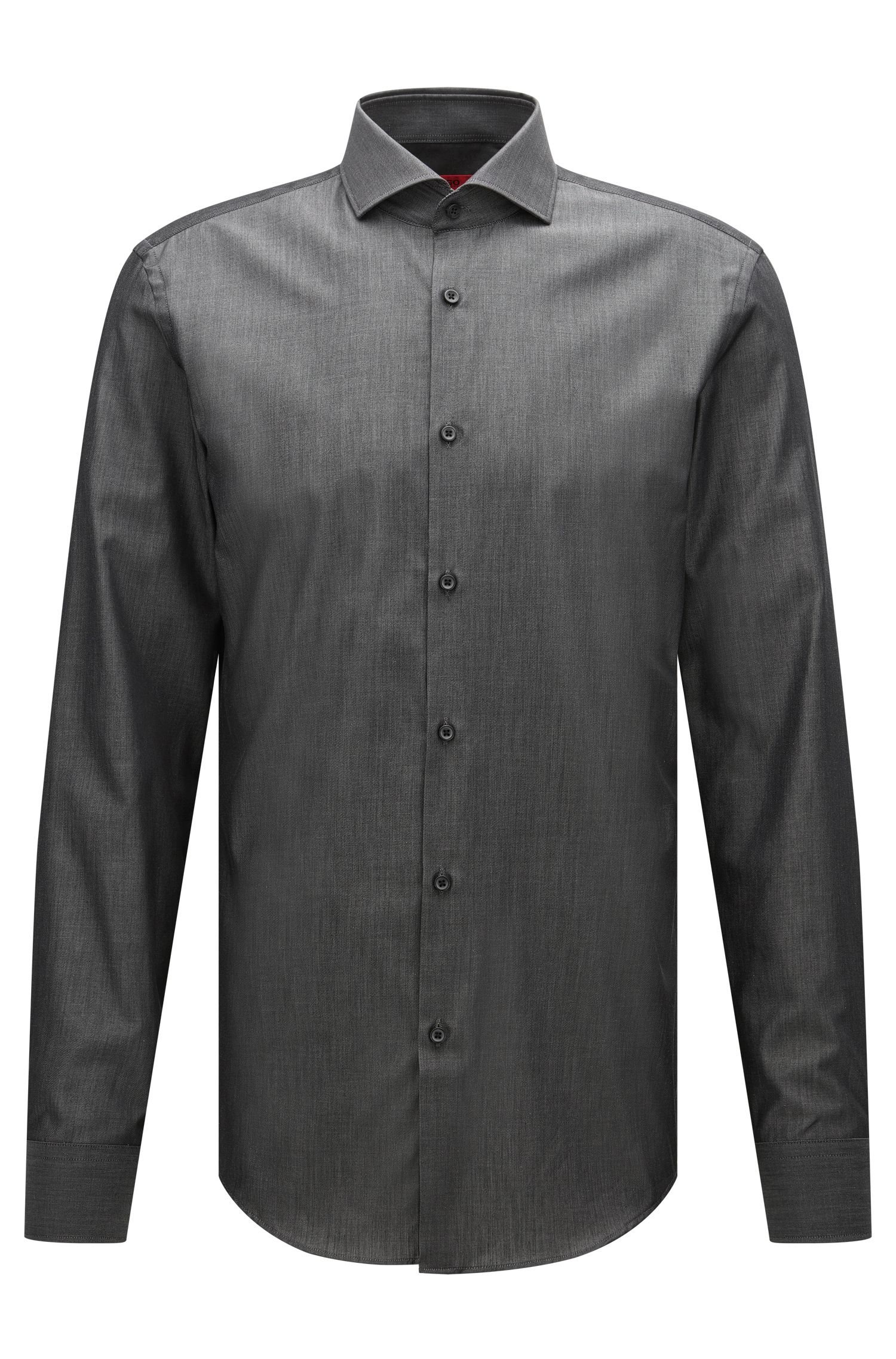 Slim-fit cotton shirt with denim effect