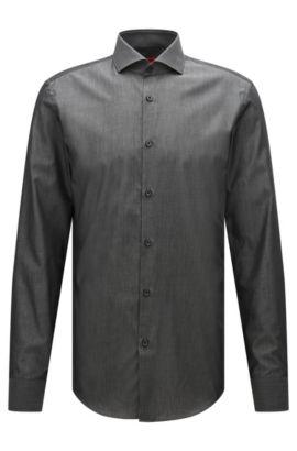Camicia slim fit in cotone effetto denim, Grigio scuro