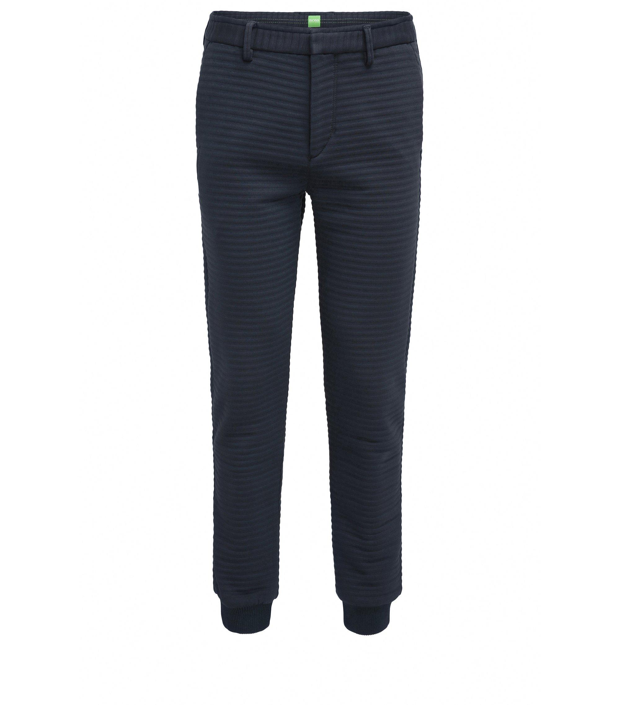 Slim-fit broek van jersey met 3D-structuur, Donkerblauw