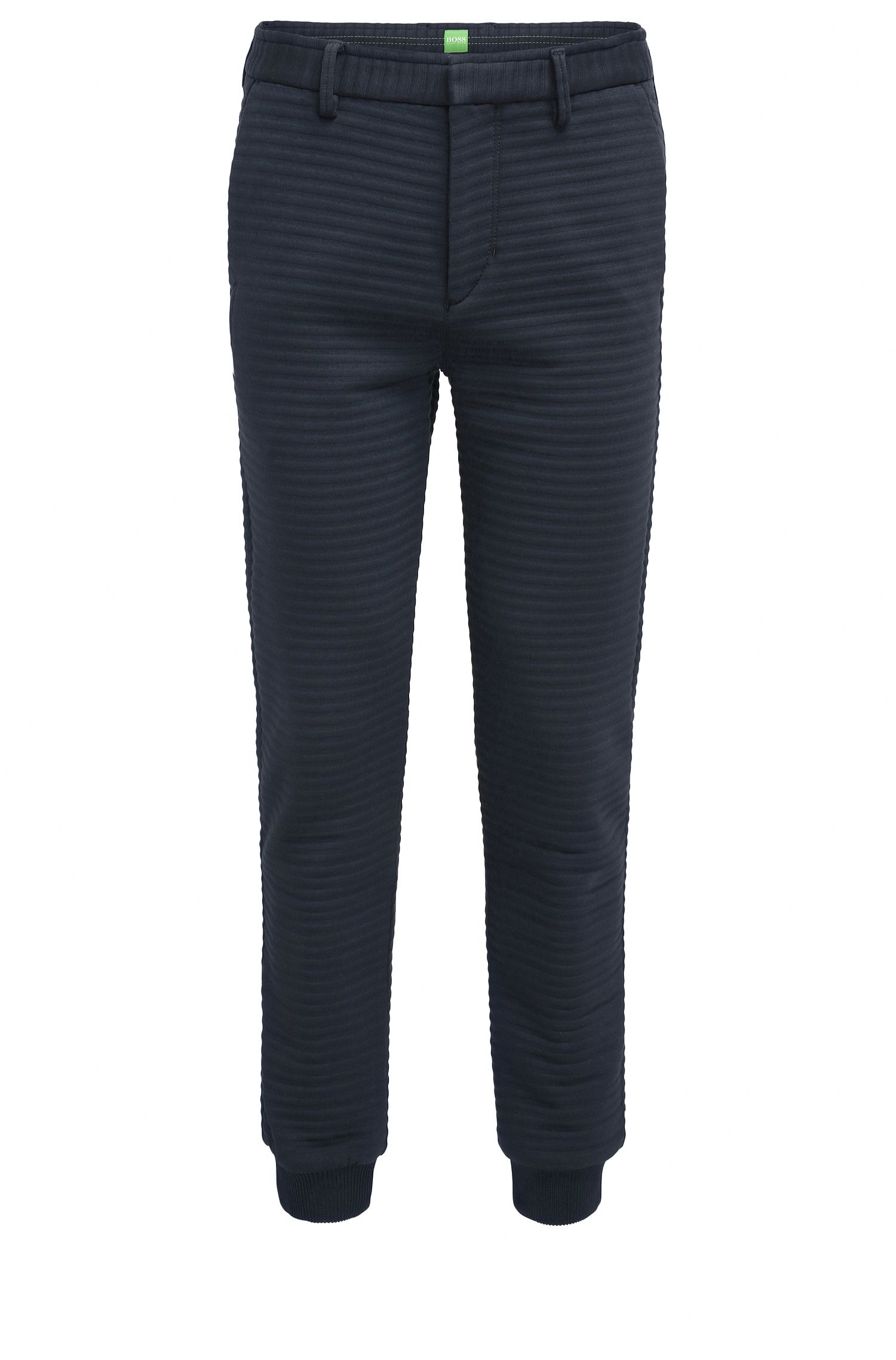 Slim-fit trousers in 3D-structured jersey