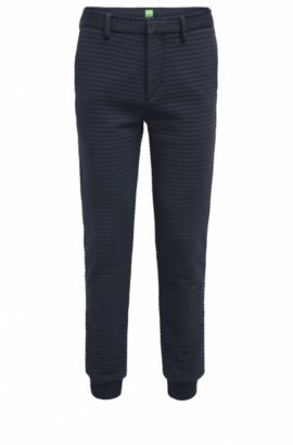 Slim-fit trousers in 3D-structured jersey, Dark Blue