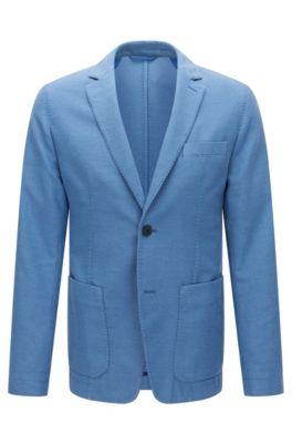 Stückgefärbtes Slim-Fit Sakko aus Baumwoll-Mix mit Struktur, Blau