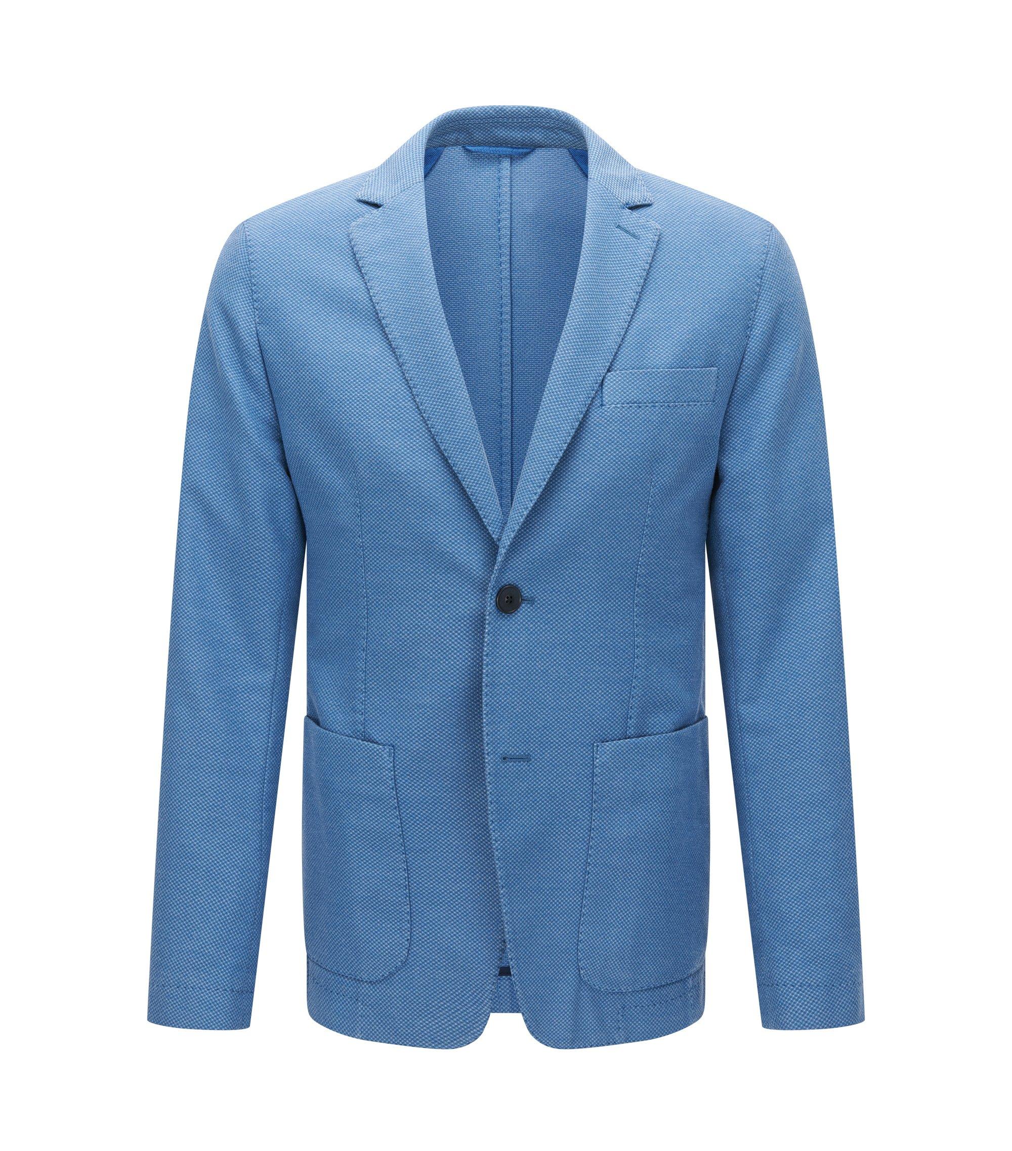 Slim-fit kostuumcolbert van gestructureerde garment-dyed stof, Blauw