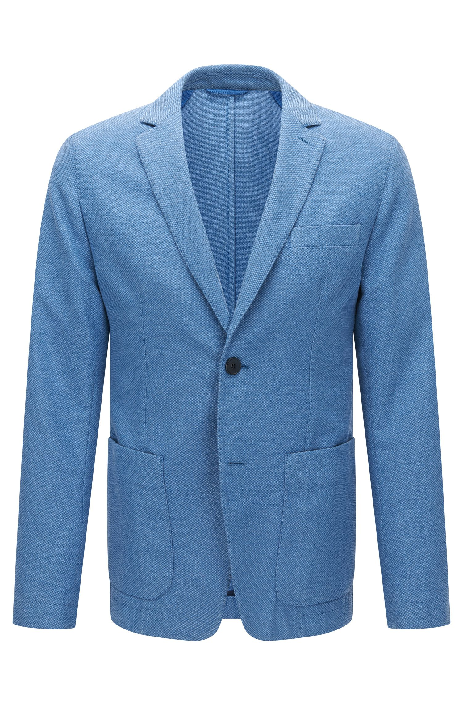 Slim-fit suit jacket in textured garment-dyed fabric