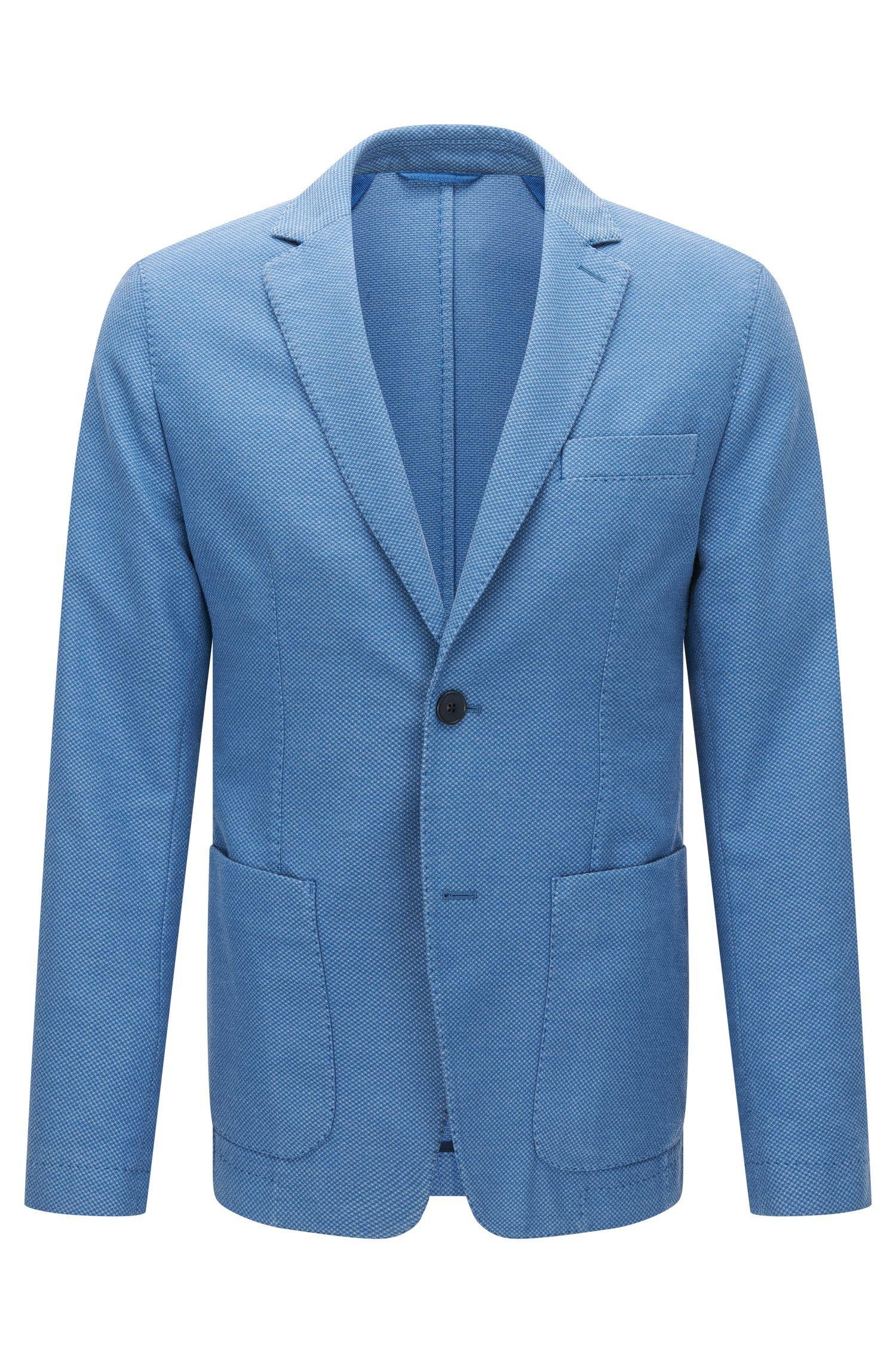 Slim-fit kostuumcolbert van gestructureerde garment-dyed stof