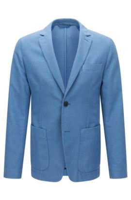 Slim-fit suit jacket in textured garment-dyed fabric, Blue