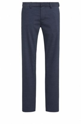 Pantaloni slim fit in tessuto di medio peso, Blu scuro