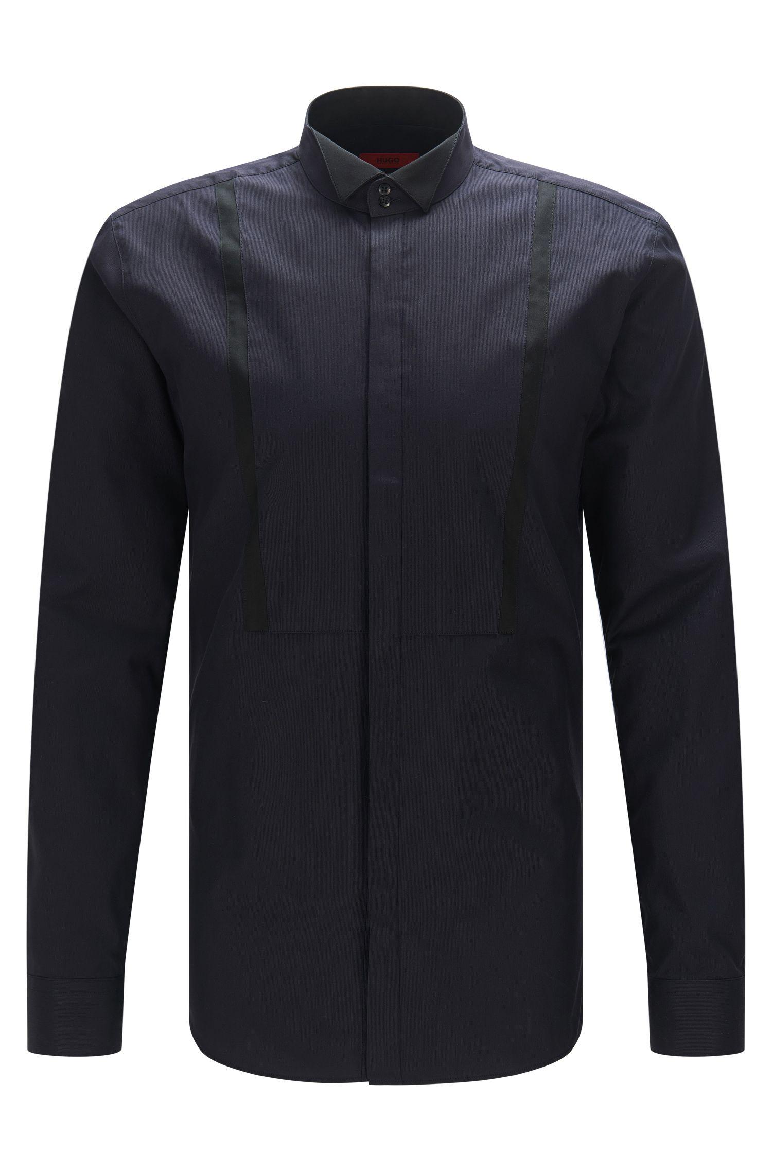 Camisa extra slim fit con rayas contrastadas