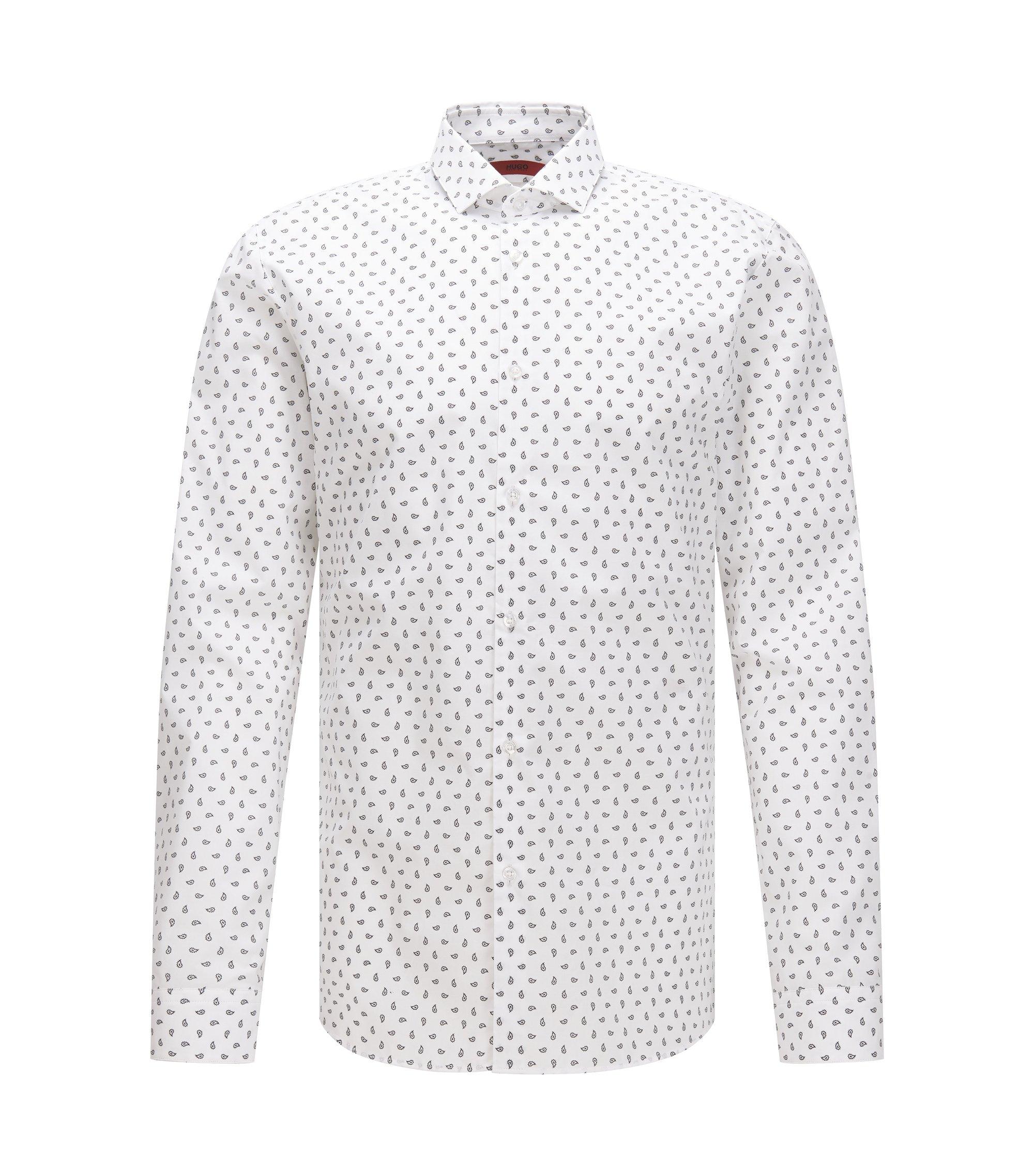 Chemise Slim Fit en coton à imprimé cachemire, Blanc
