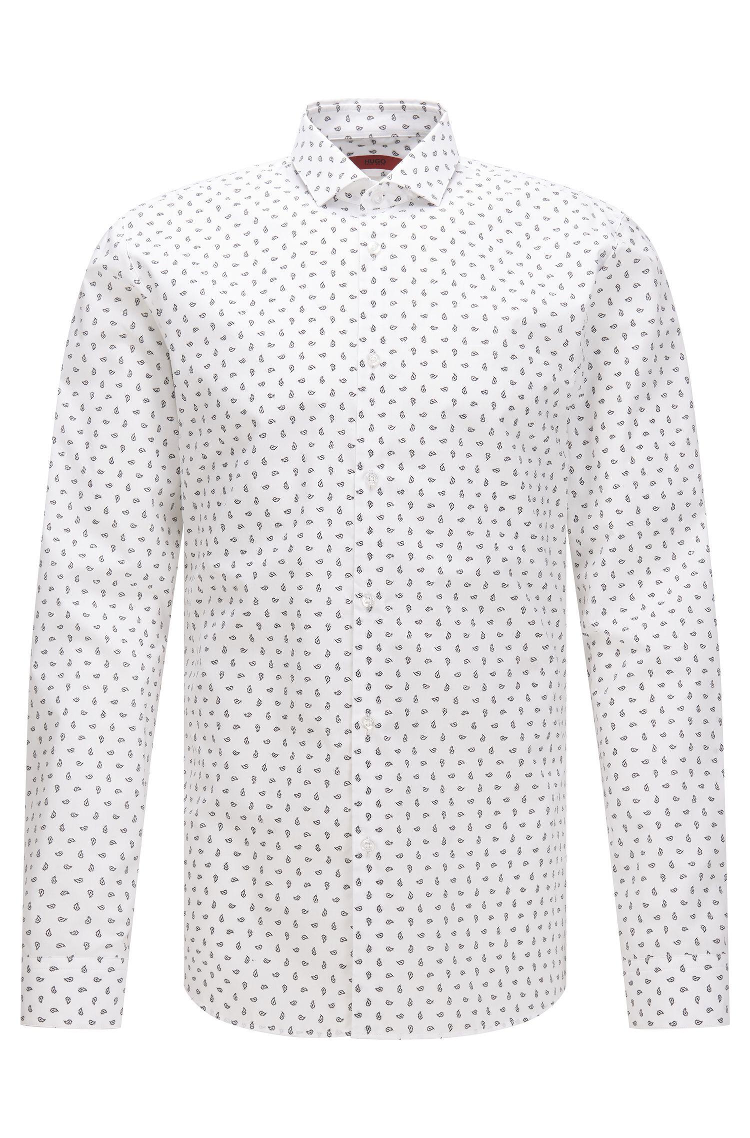 Slim-fit cotton shirt with paisley print