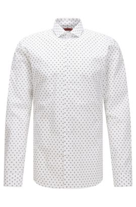 Slim-fit cotton shirt with paisley print, Open White