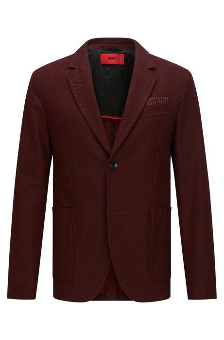 Slim-fit jacket in cotton with sportswear styling, Dark Red