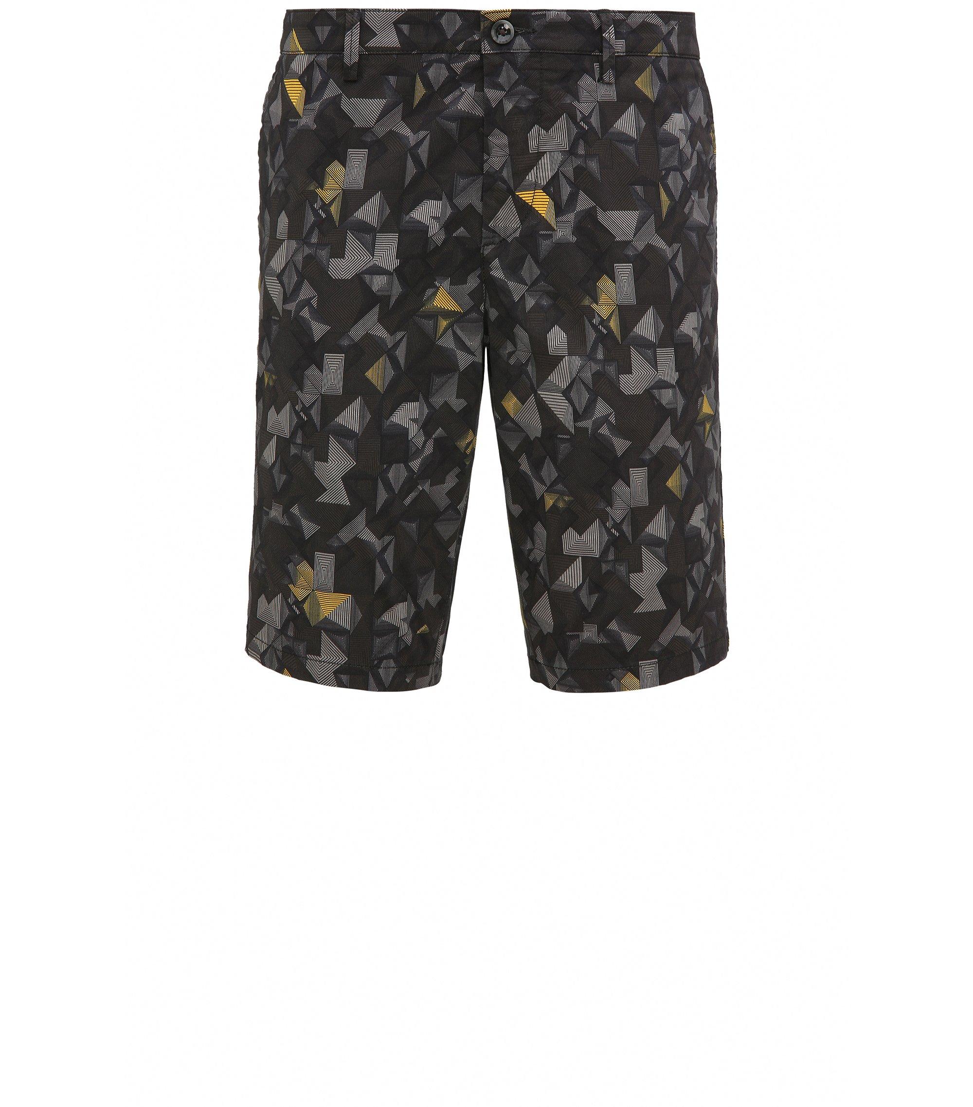 Pantaloncini corti slim fit in cotone elasticizzato stampato, Giallo
