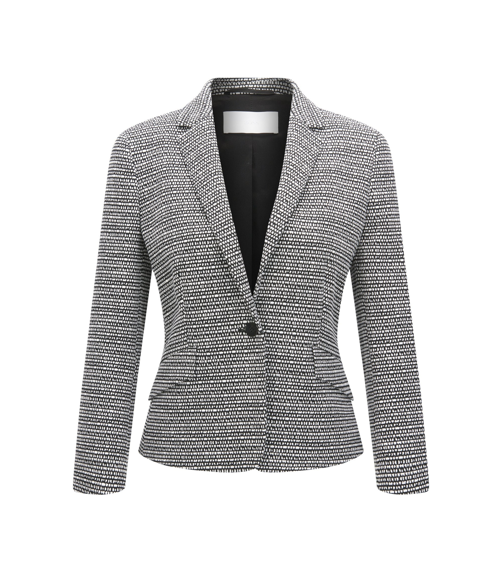 Regular-fit blazer in jacquard fabric, Patterned
