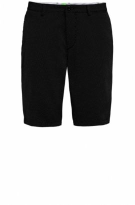 Gepunktete Regular-Fit Shorts aus Baumwoll-Mix, Schwarz