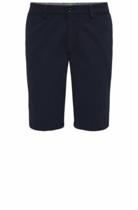 Regular-fit shorts in pin-dot jacquard, Dark Blue