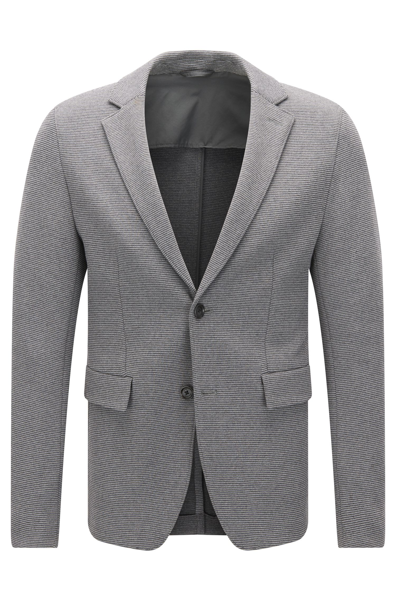 Extra-slim-fit jacket in a textured stretch cotton blend