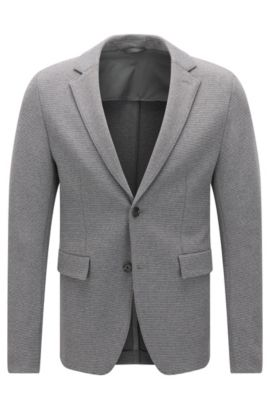 Extra-slim-fit jacket in a textured stretch cotton blend, Grey