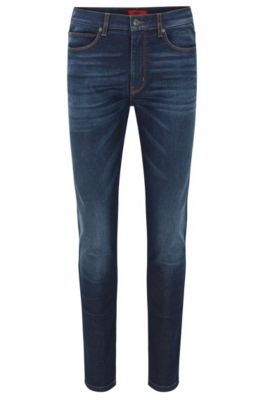 Jeans blu skinny fit con effetto stonewashed in denim elasticizzato, Blu