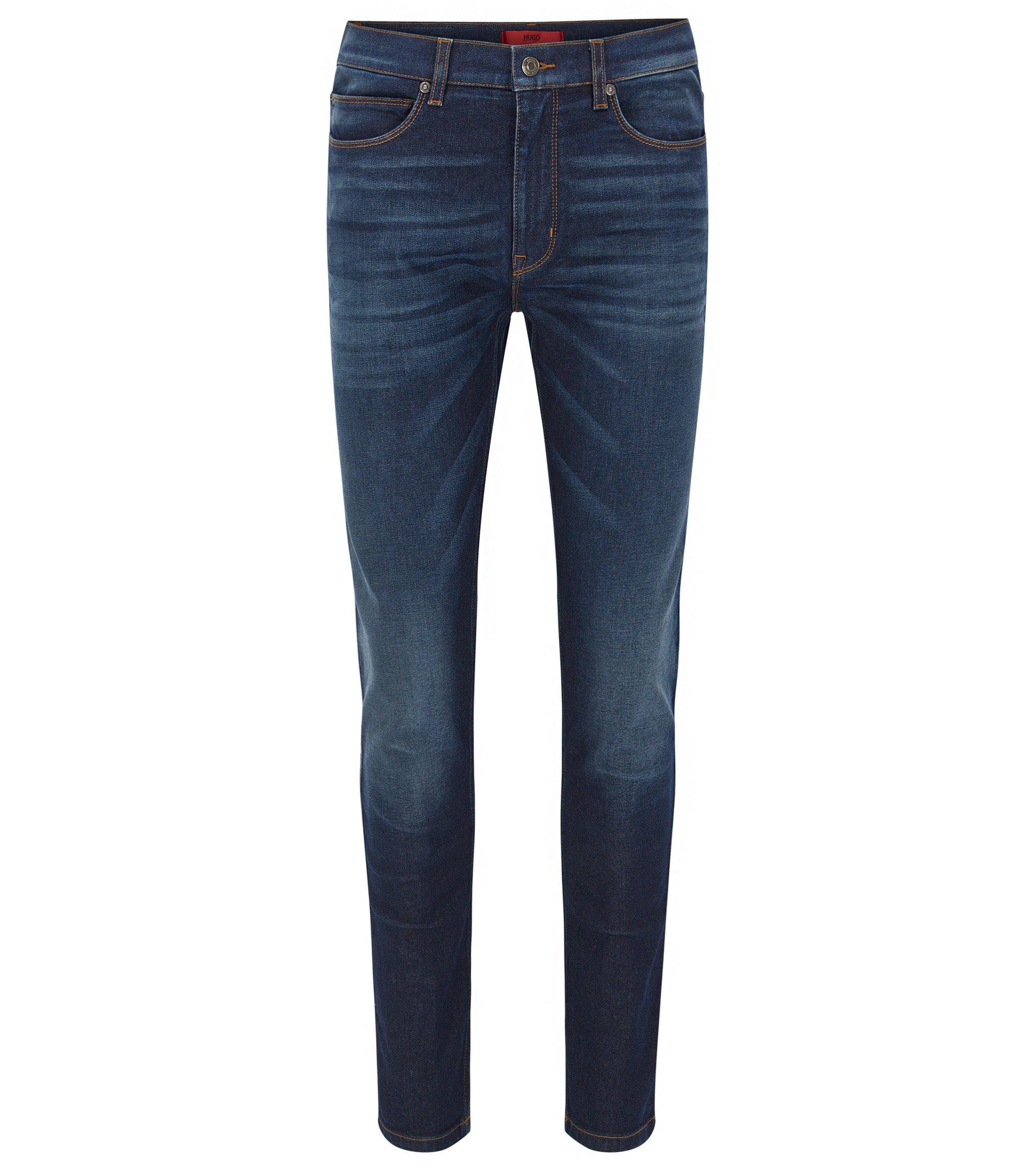 Skinny-Fit Jeans aus elastischem Stone-washed-Denim, Blau