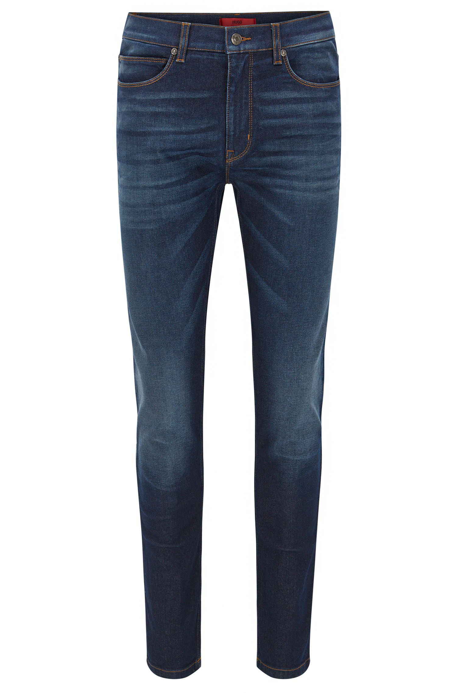 Skinny-fit stone-washed blue jeans in stretch denim