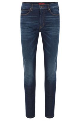 Skinny-fit stone-washed blue jeans in stretch denim, Blue