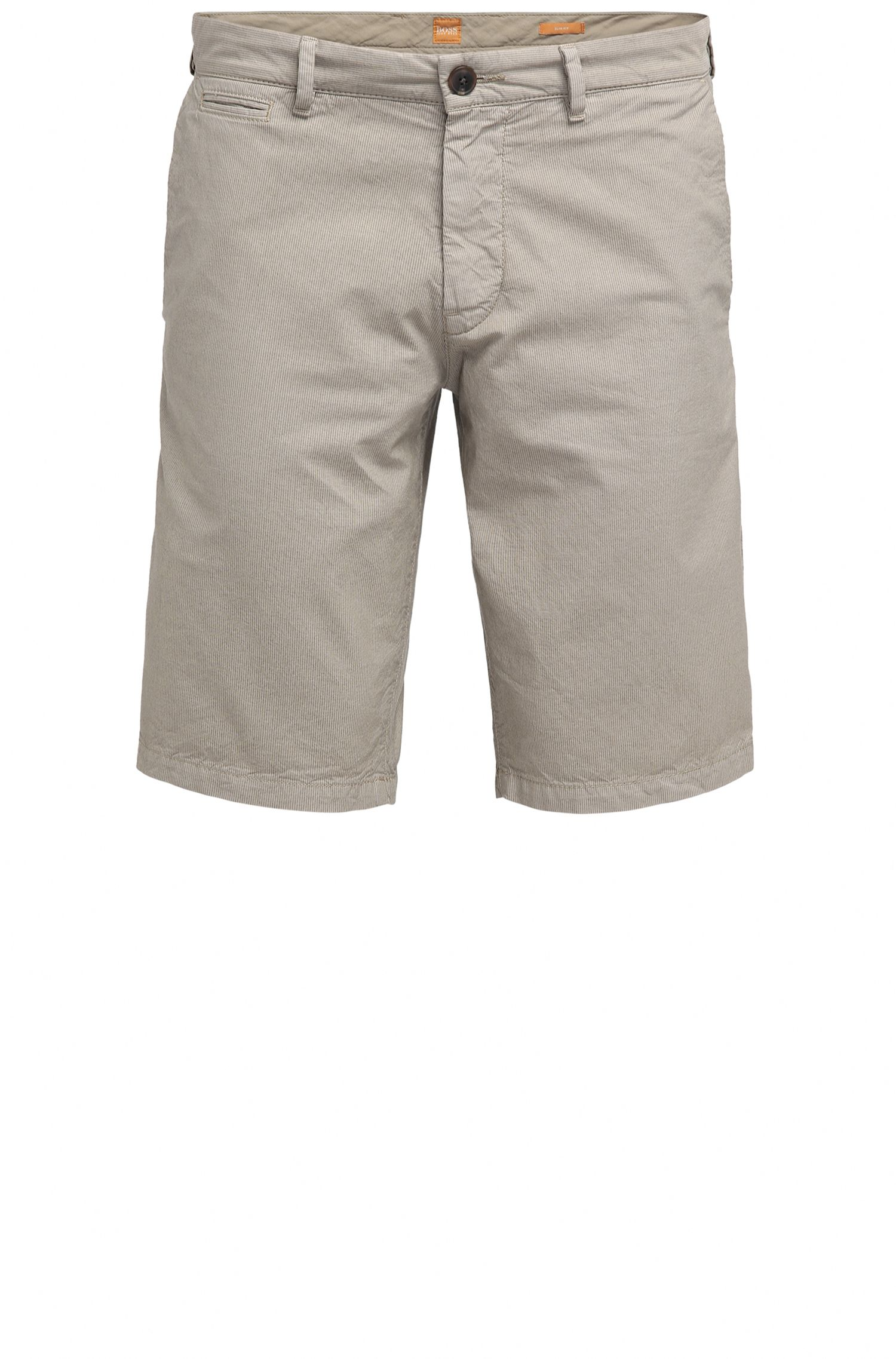 Slim-fit cotton shorts with concealed pockets