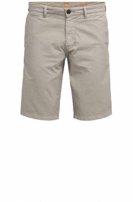 Slim-fit cotton shorts with concealed pockets, Beige