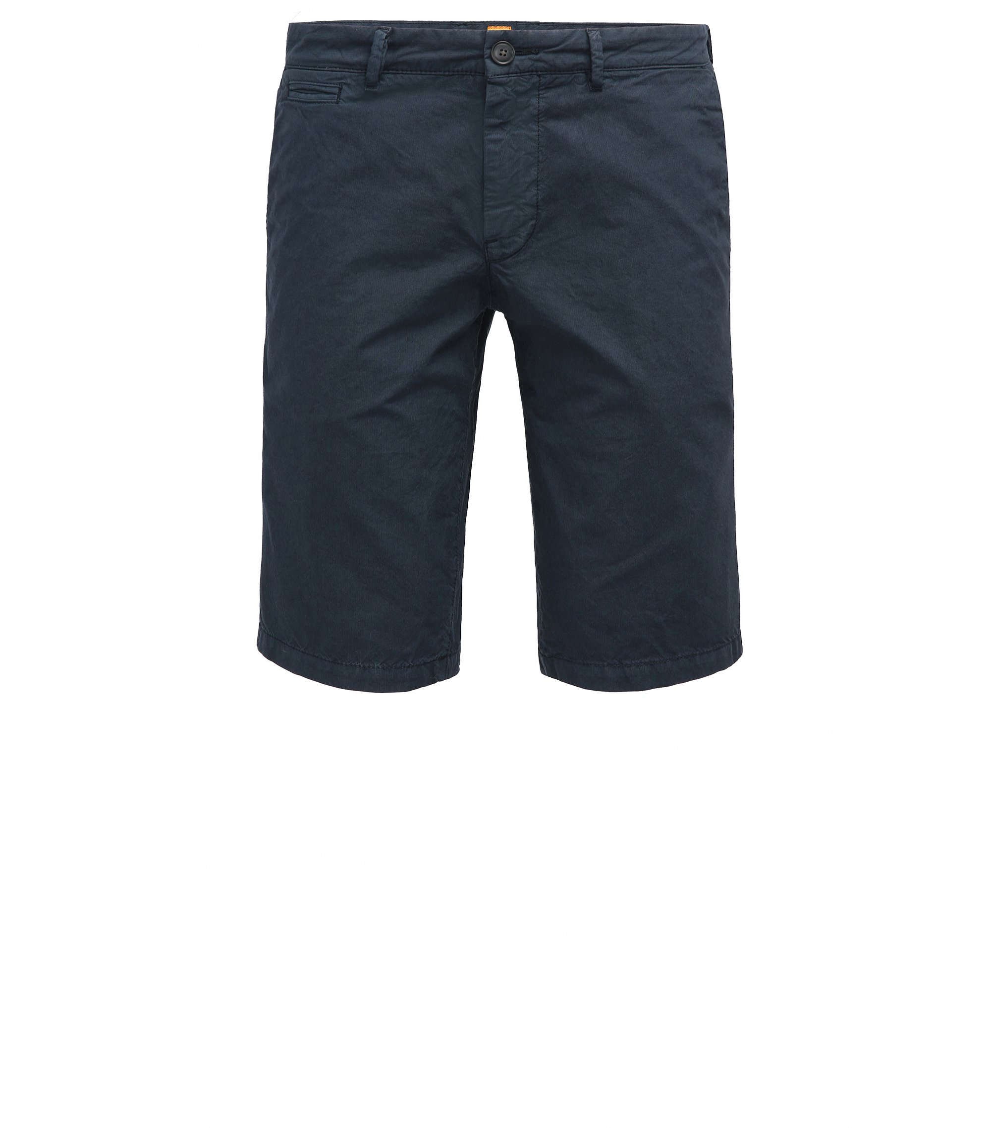 Slim-fit short van katoen met verborgen zakken, Donkerblauw