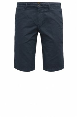 Slim-fit cotton shorts with concealed pockets, Dark Blue