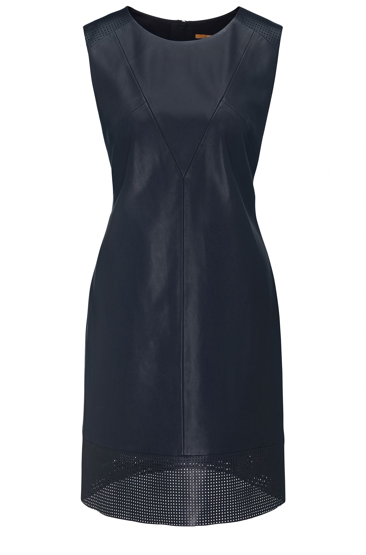 A-line dress in faux leather