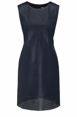 A-line dress in faux leather, Dark Blue