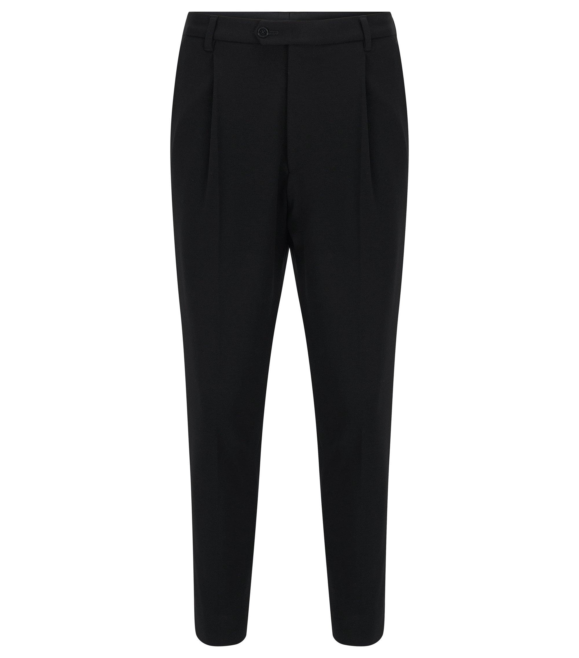 Tapered-leg broek van zachte jersey, Zwart