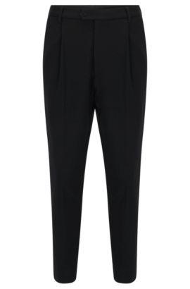 Tapered-leg trousers in soft jersey, Black