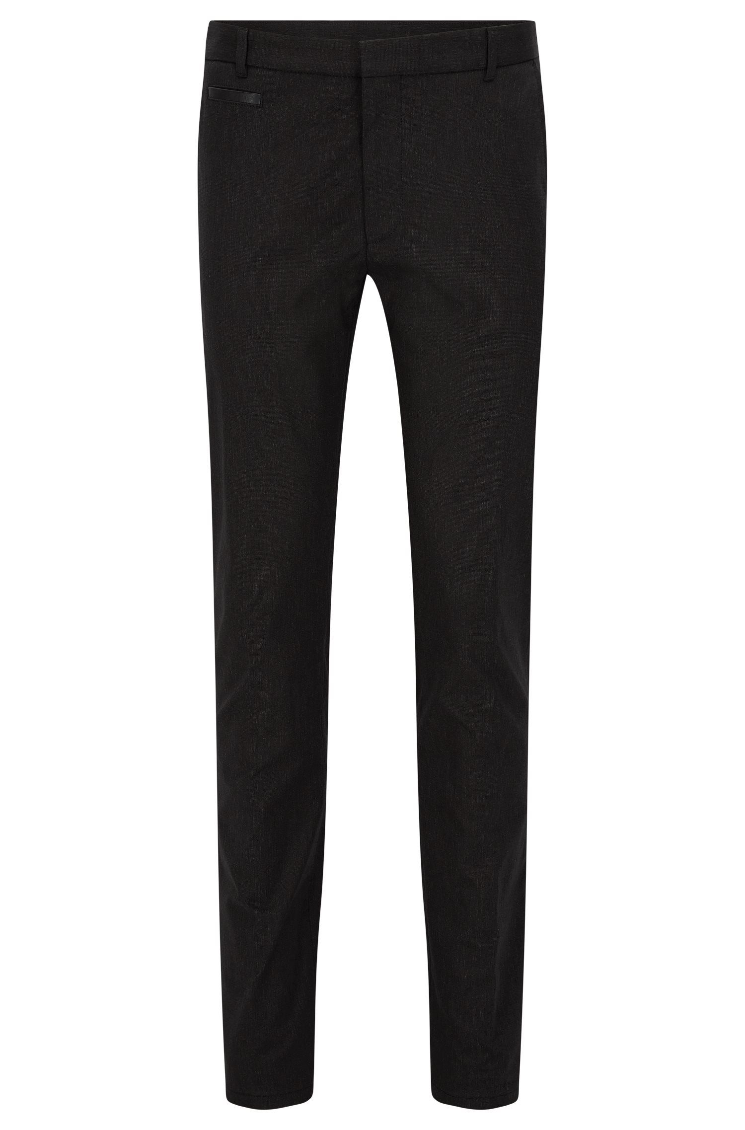 Extra-slim-fit trousers in cotton blend with leather piping detail